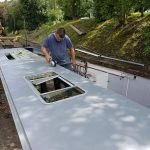 Aaran working on the top for narrowboat Lesley Ann