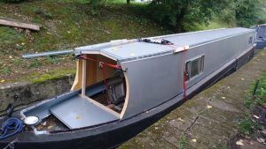 Partially finished new narrowboat top