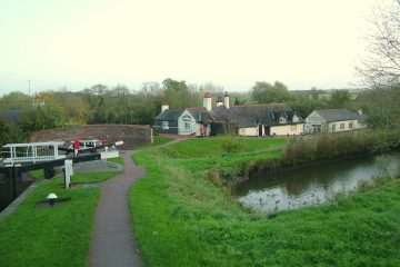 View of Foxton locks from a hire boat