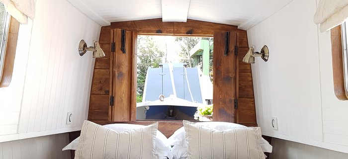 boutique narrowboat king sized bed luxury
