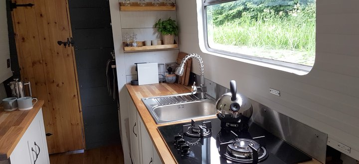 boutique narrowboat luxury kitchen
