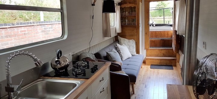 A luxurious lounge saloon in the canal boat