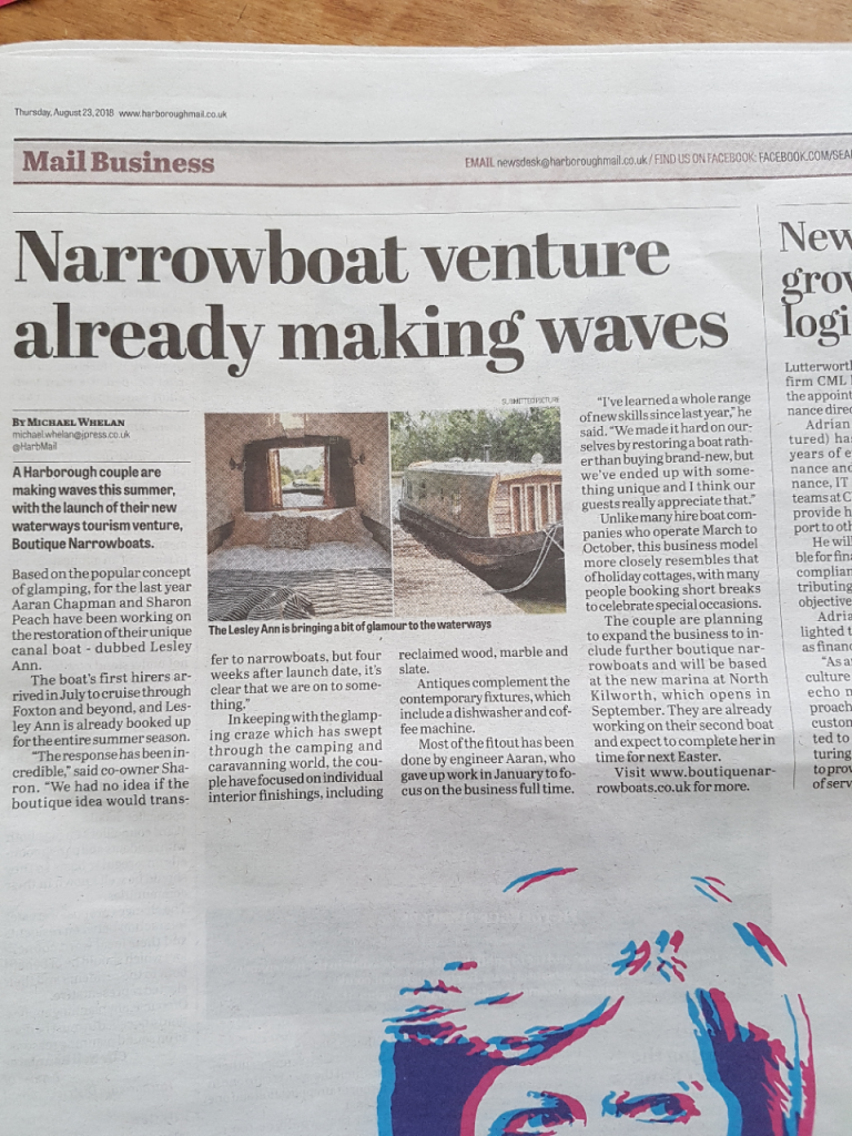Boutique Narrowboats in the market harborough news