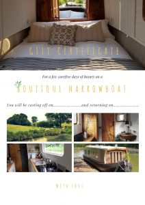 For you... gift certificate for boutique narrowboats