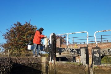 Grand union canal locks on boutique narrowboat
