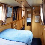 bed inside a family narrowboat