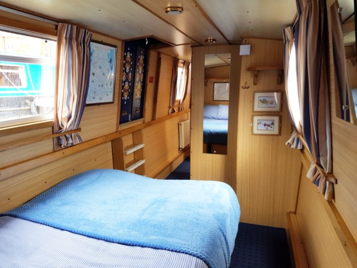 bed inside a family narrowboat