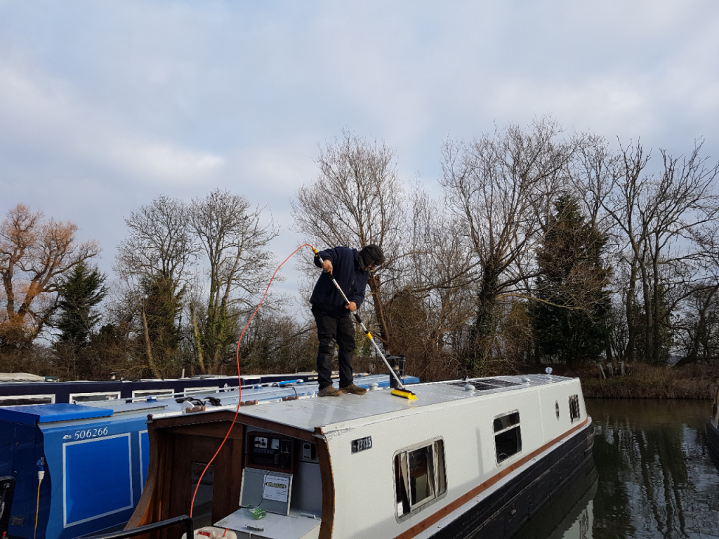 Cleaning the outside of a boat