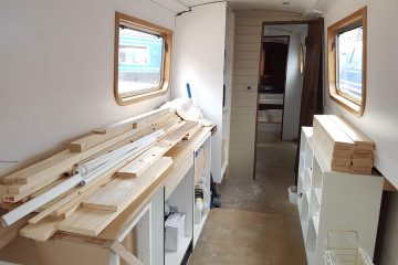 boutique narrowboat kitchen in build