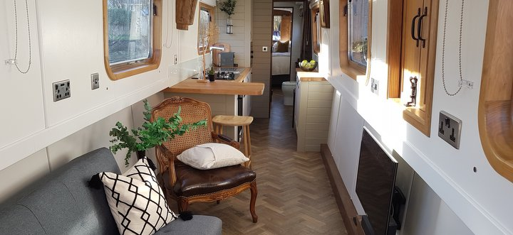 luxury canalboat for hire interior