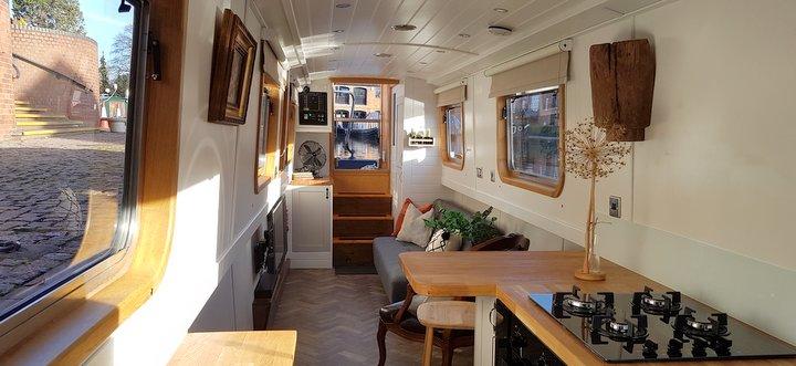 interior of a Boutique Narrowboat