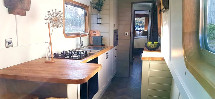 luxury interior of Boutique Narrowboat for hire