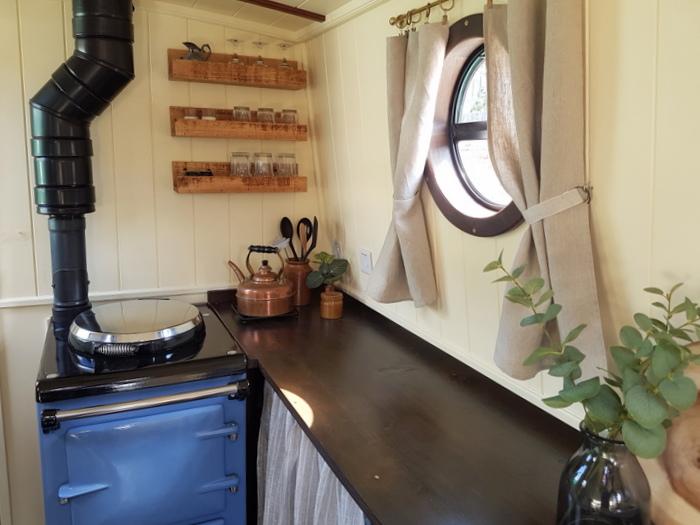 Narrowboat Kitchen on Kathleen May with Aga