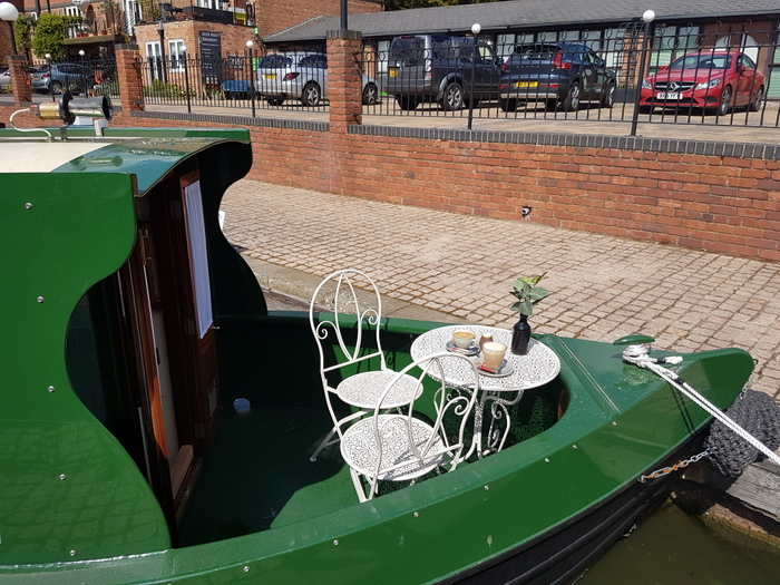 Front deck on boutique narrowboat Kathleen May