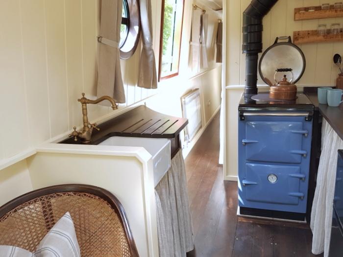 kitchen on kathleen may interior designed hire narrowboat
