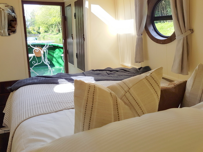 from the bedroom on kathleen may luxury narrowboat