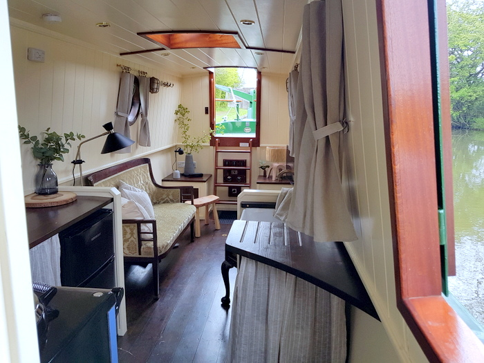 looking towards the back of the boutique narrowboat